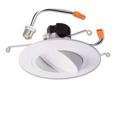 Halo Ra 5 In And 6 In White Integrated Led Recessed Ceiling Light Fixture Adjustable Gimbal Trim 90 Cri 3000k Soft White Ra5606930whr The Home Depot Led Recessed Ceiling Lights Recessed