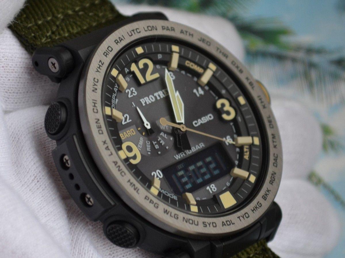 Обзор Protrek  Добротные PRG-600YB-3 с зеленым тканевым ремешком ... 8d5c17a5d96