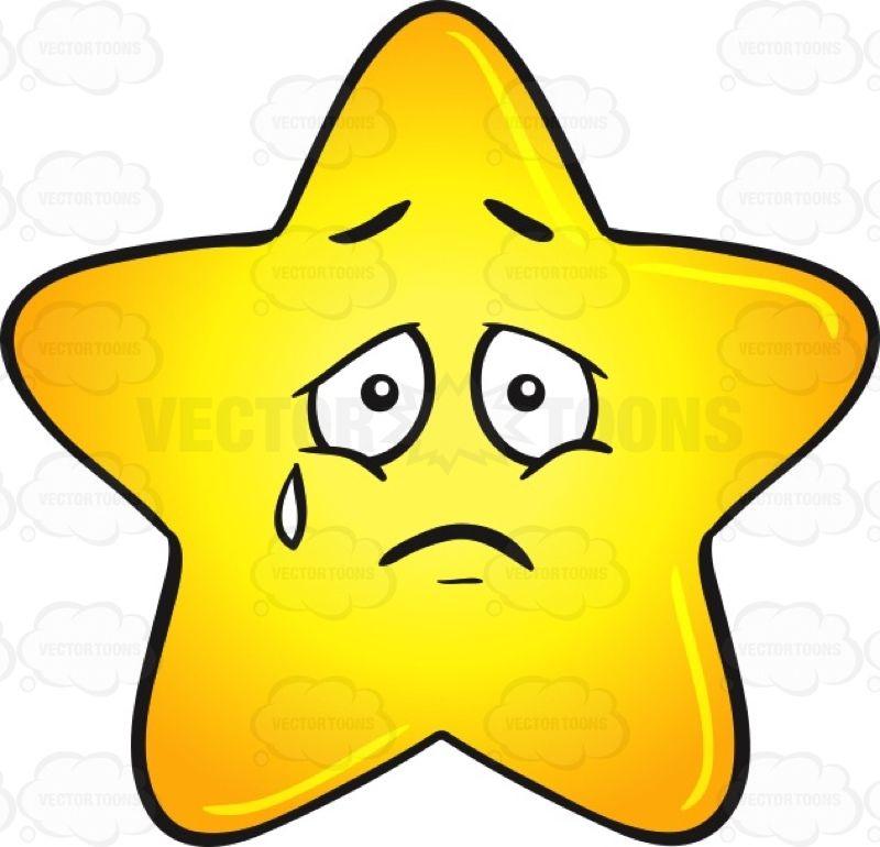 Single Gold Star Cartoon Expressing Sadness With Teardrop Emoji