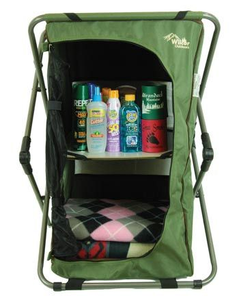 This pop up cupboard is great for storage when camping. Protects items from insects with its zippered mesh door. Sets up in seconds for quick temporary organiz