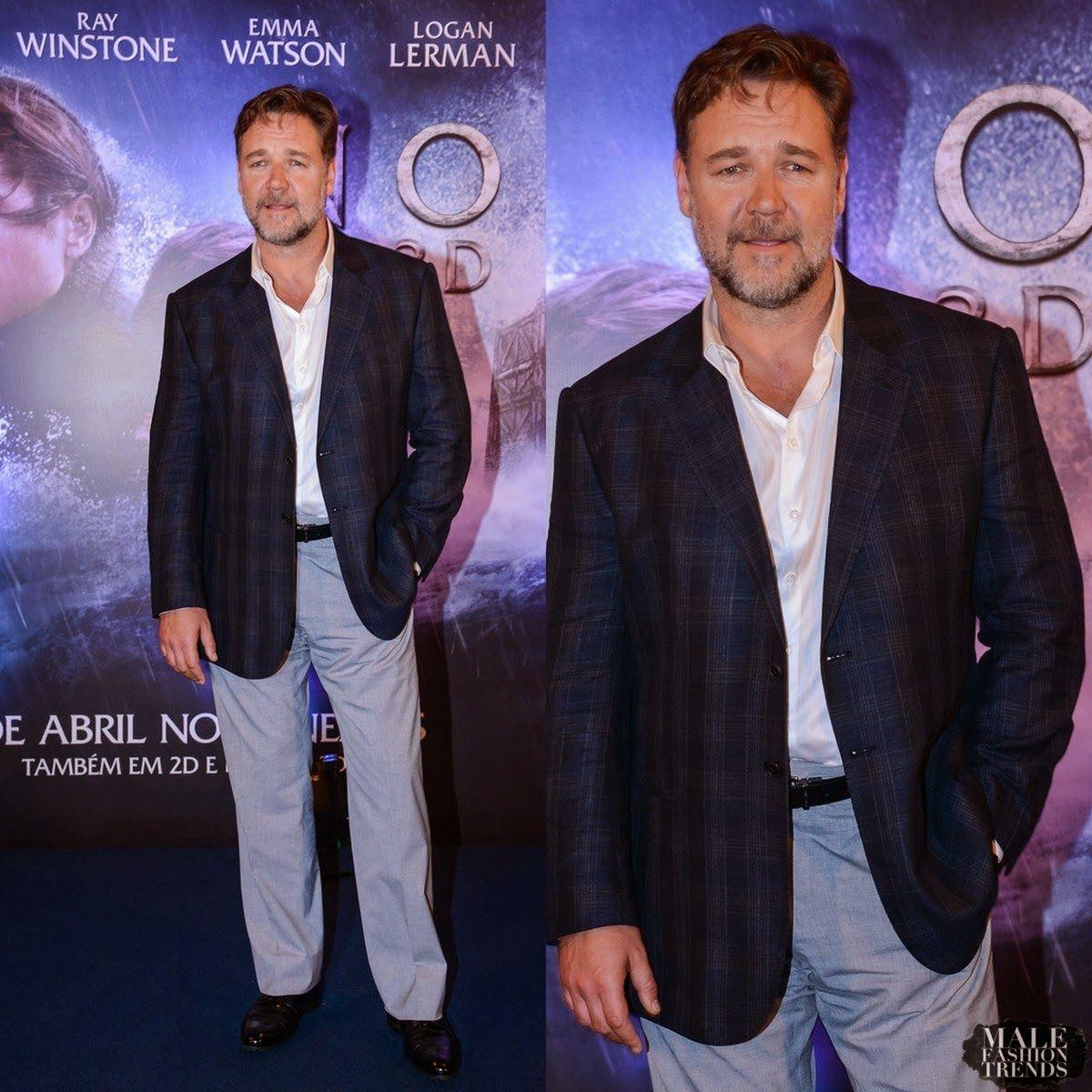 "Male Fashion Trends: Russell Crowe en Moods of Norway – ""Noah"" Rio de Janeiro Photocall"