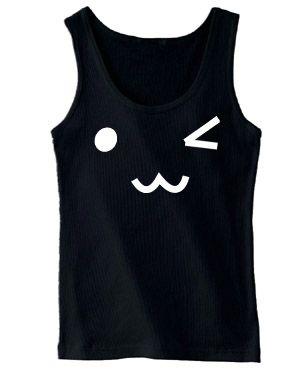 Kawaii Face Cotton Tank Top (white/black)