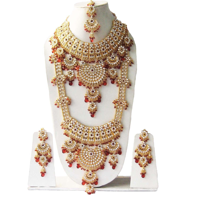 Indian Jewelry,Bridal Jewelry Bollywood Zircon Necklace Jewelry Fancy Necklace INDIAN ZIRCON NECKLACE Latest Kundan Zircon Necklace Set