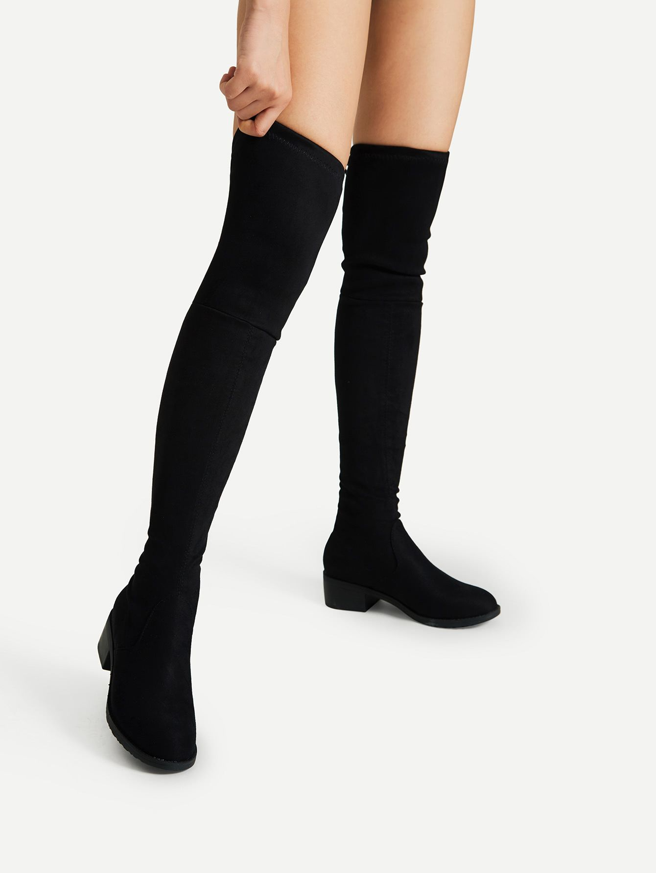 e771fa31105 Shop Lace Up Detail Block Thigh High Heeled Boots online. SheIn offers Lace  Up Detail Block Thigh High Heeled Boots   more to fit your fashionable needs .