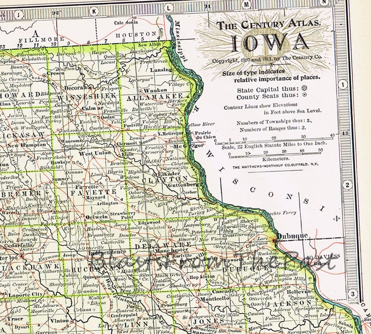 1911 Antique MAP of IOWA Authentic Large Scale Century Atlas IA