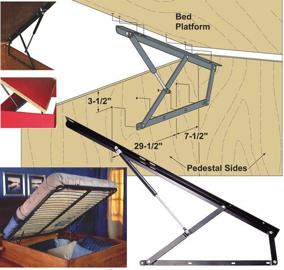 Soft Closing Platform Bed Storage Lifts Gas Spring Mechanism Allows Easy Access To Under