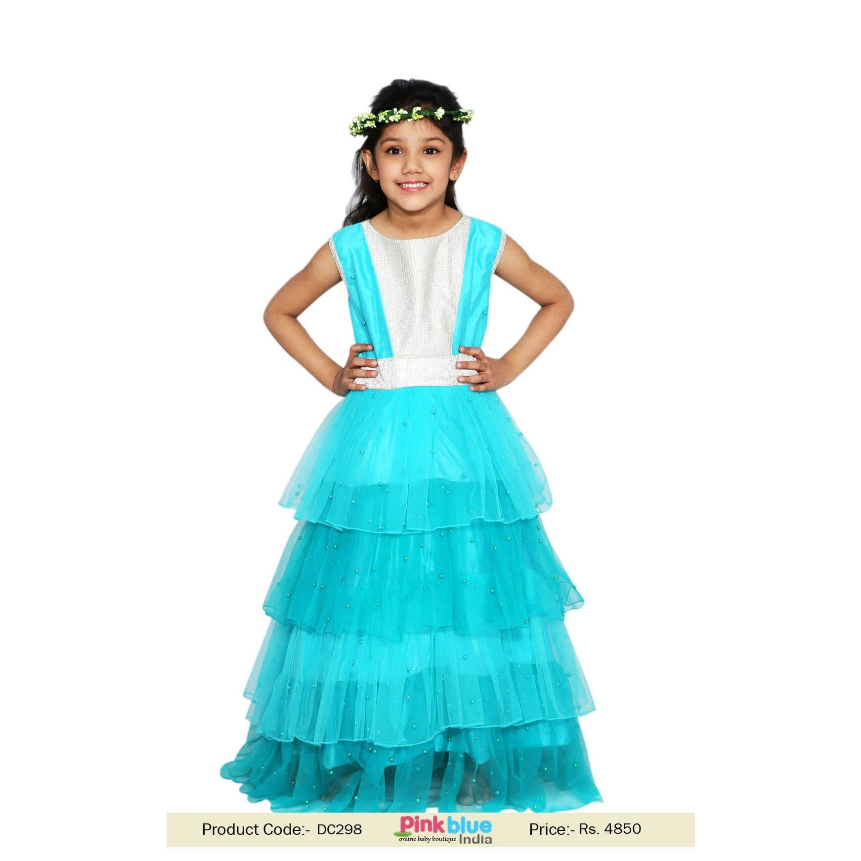 Long Tiered Frill Gown for Toddlers Tiered Ruffle