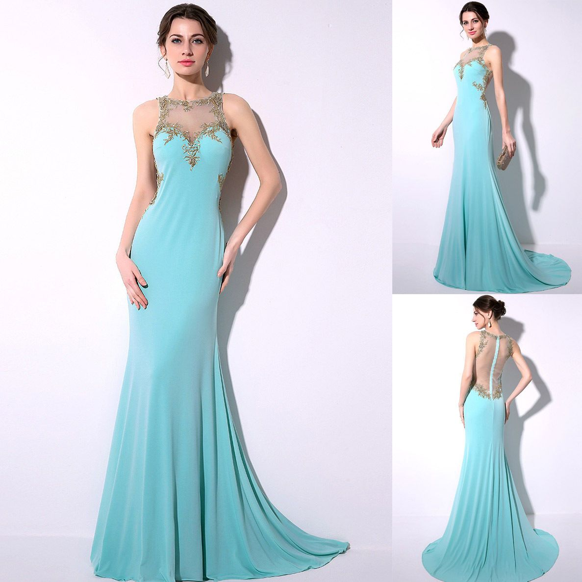 Gold Applique Long Womens Formal Evening Party Dress Gowns Bridal ...