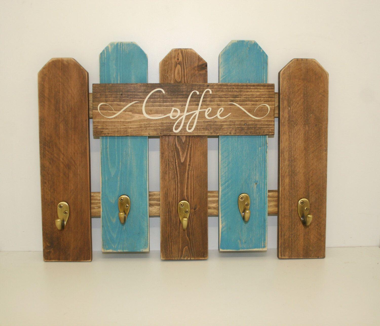 Coffee Mug Rack- Western Rustic Kitchen Decor- Reclaimed Fence Wood ...