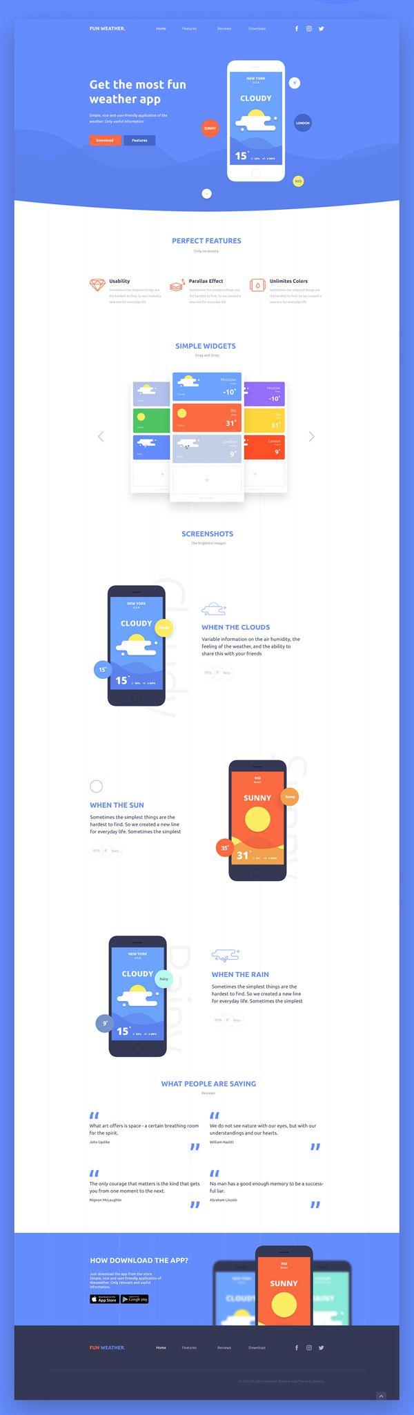 Free PSD Landing Page (Weather App) #freebies #psdgraphics #freepsdfiles #mockupdesign #webtemplate #uidesign