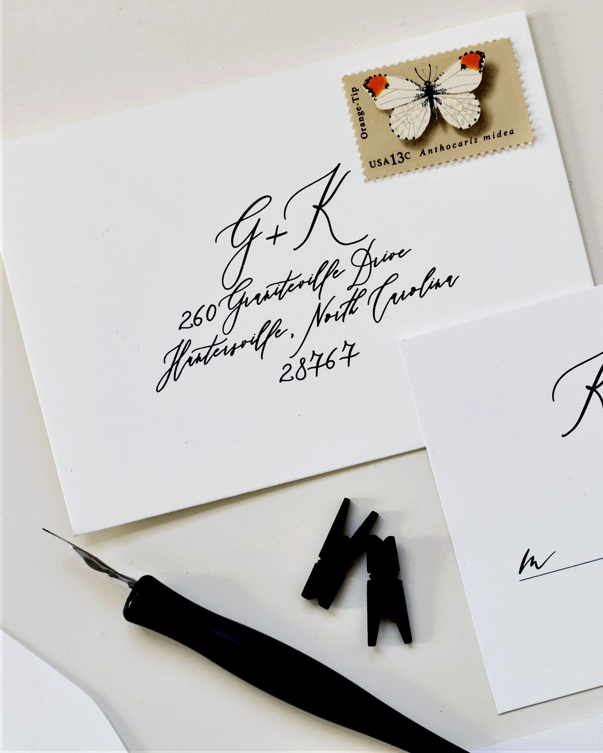 J handwritten calligraphy card with envelope