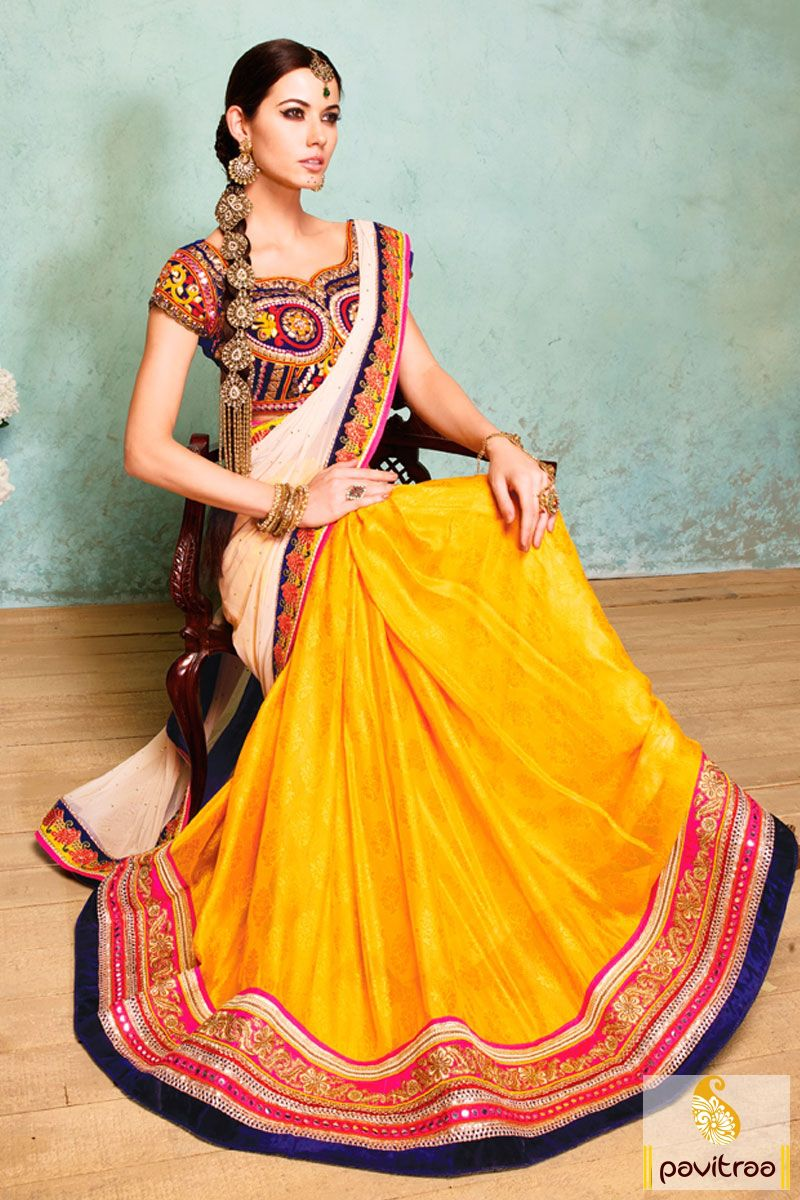 Pavitraa yellow cream and cobalt blue party wear sarees