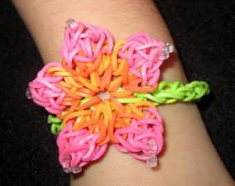 Hibiscus Flower Rainbow Loom Hibiscus Flower Rainbow Loom Bracelet Jewelry Wristband Pick Your Rainbow Loom Rainbow Loom Bracelets Loom Bands