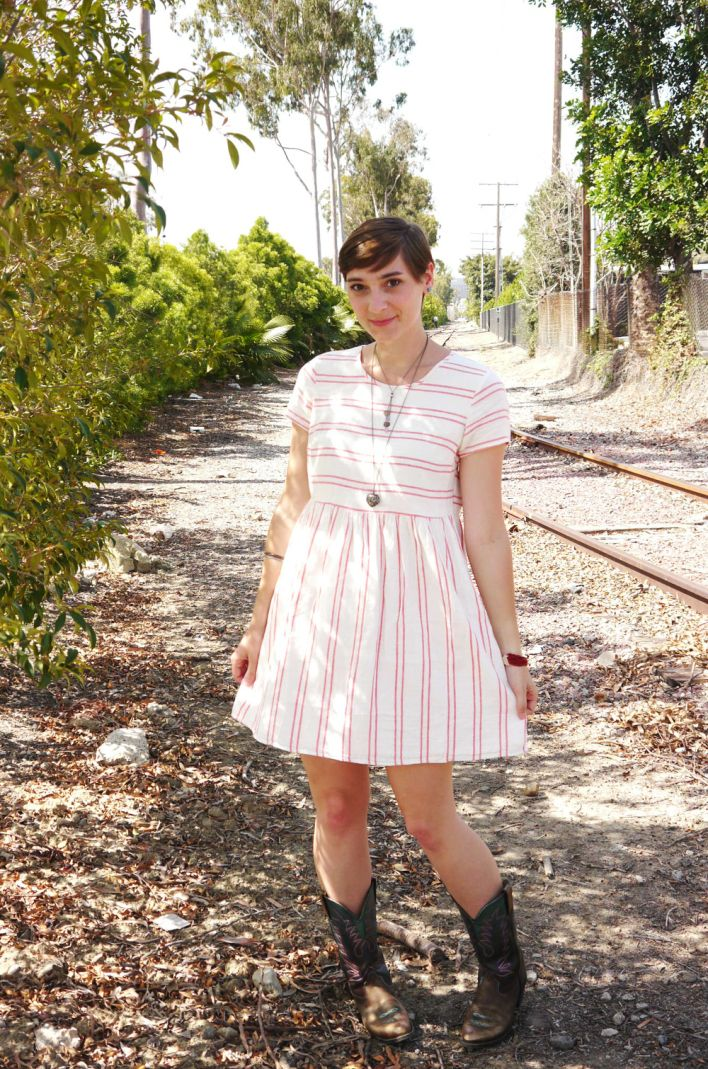 Navy red and white striped dress.
