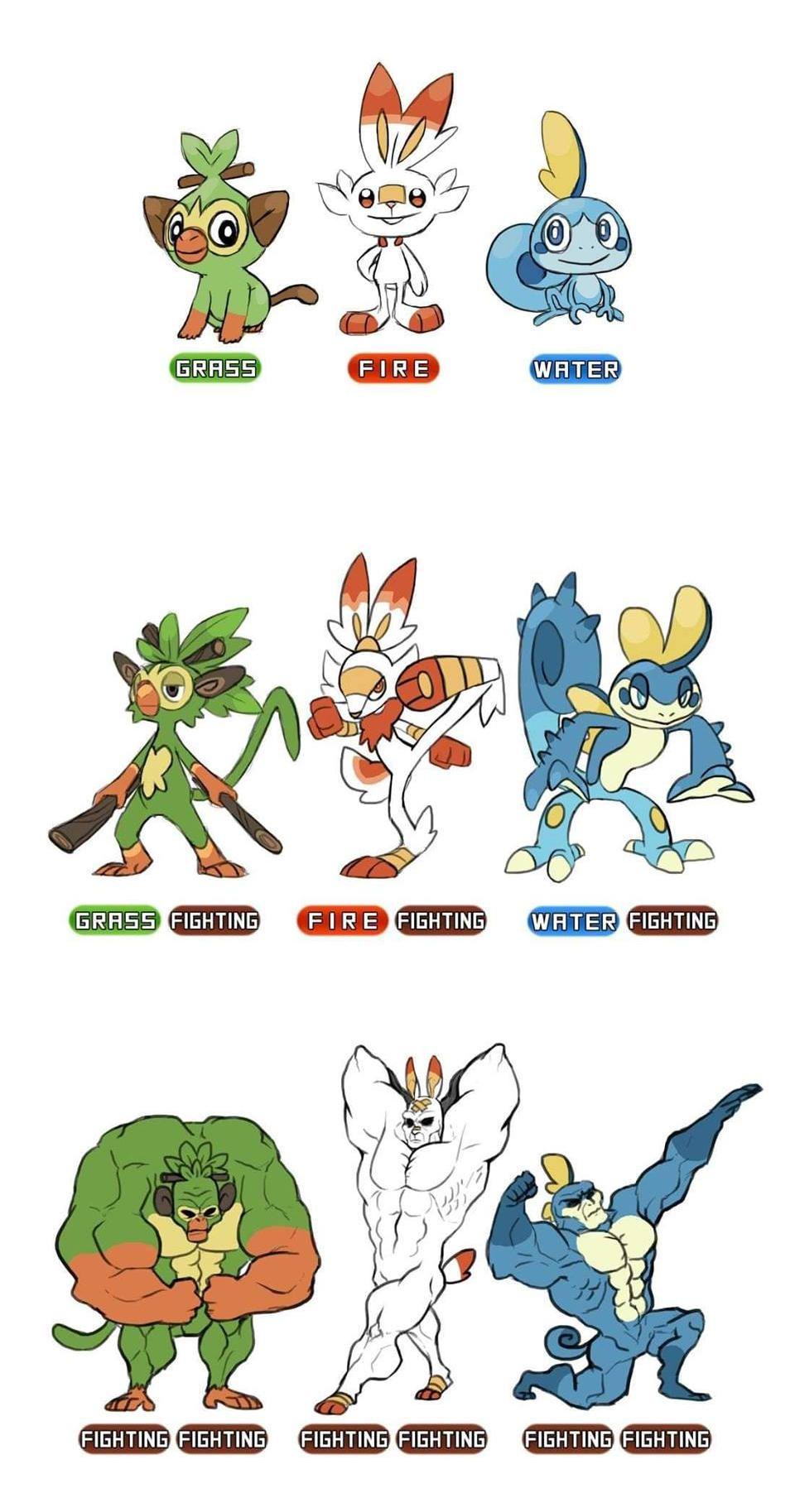 Gen 8 Starter Evolutions Pokemon Pokemon Starter Evolutions