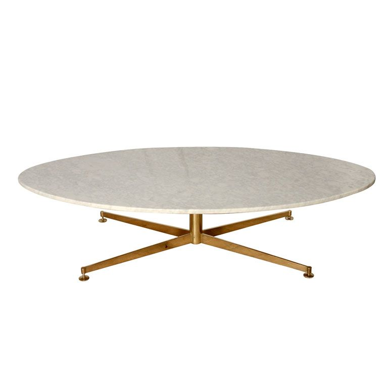 Anonymous; Marble And Brass Coffee Table By Arflex, 1960s.