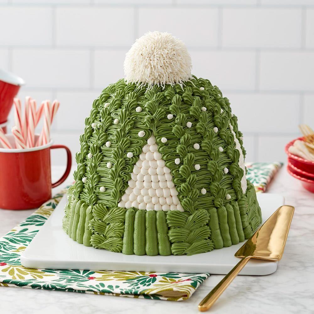 Rosanna Pansino Cozy Knit Hat Cake | Recipe | Hat cake, Winter cake, Winter wonderland cake