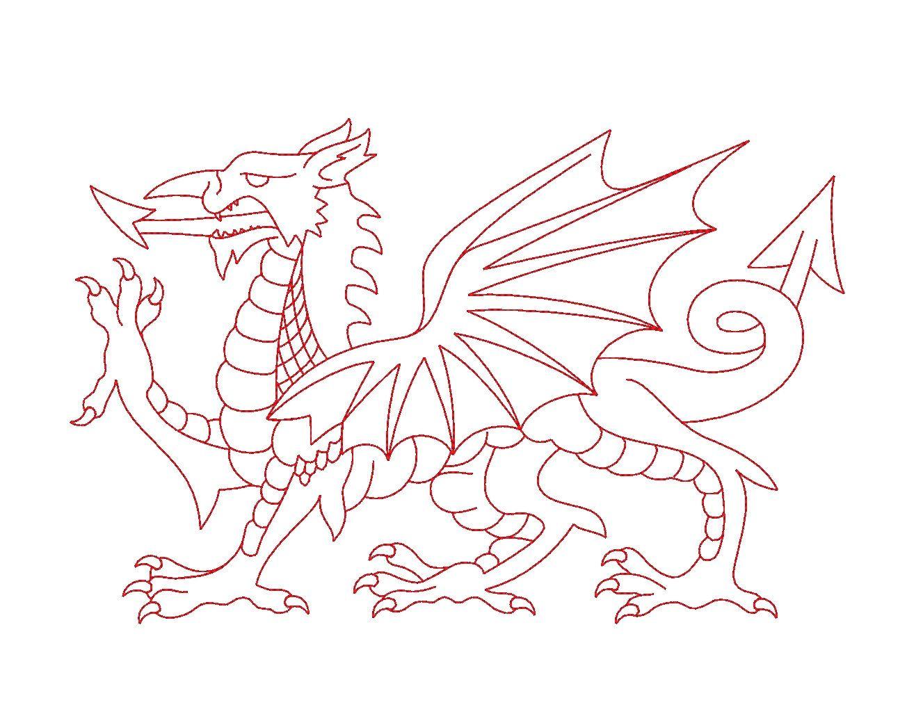 Welsh Dragon Redwork Outline Machine Embroidery Design Dragon