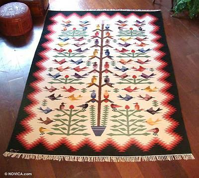 Wool rug, 'Hummingbirds' (6x8) - Exquisitely Handcrafted ...