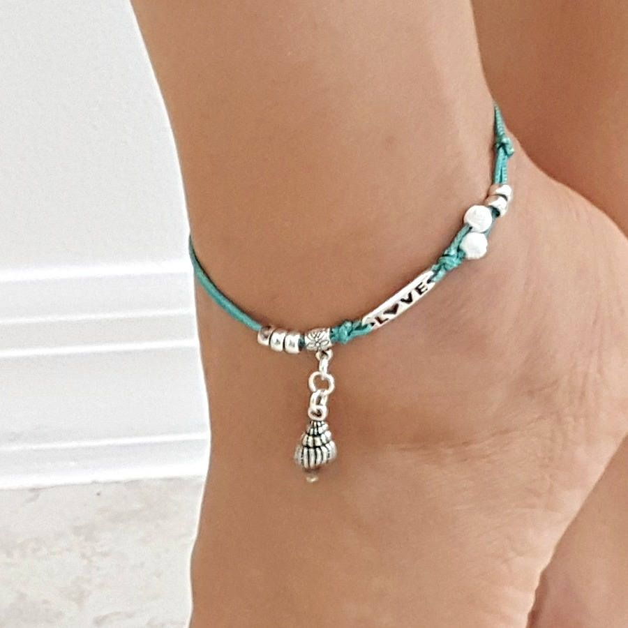 beaded jewelry ankle single beach wrap pin crochet turquoise boho anklet bracelet bracelets
