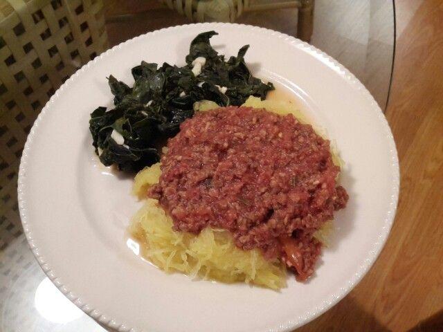 Nov 18: spaghetti squash bolognese fra diavlo with kale
