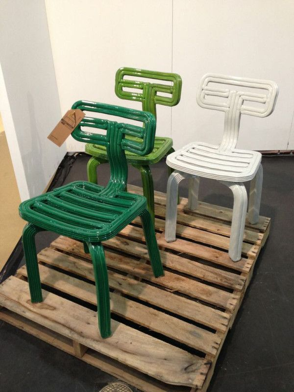 The Chubby Chairs from Dirk Vander Kooij are just as fascinating to look at as hearing about how they are made. Vander Kooij invented his very own machine that basically recycles the plastic from old refrigerators and dispenses the new material out almost like cake icing into whatever form is desired.