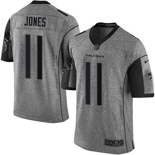 32ae623f007 Nike Falcons  11 Julio Jones Gray Men s Stitched NFL Limited Gridiron Gray  Jersey And