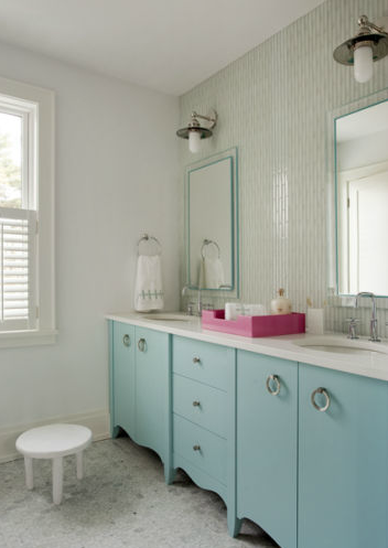 Chic Turquoise Blue Girls Bedroom With Turquoise Blue Scalloped Double Bathroom Vanity With White Quartz
