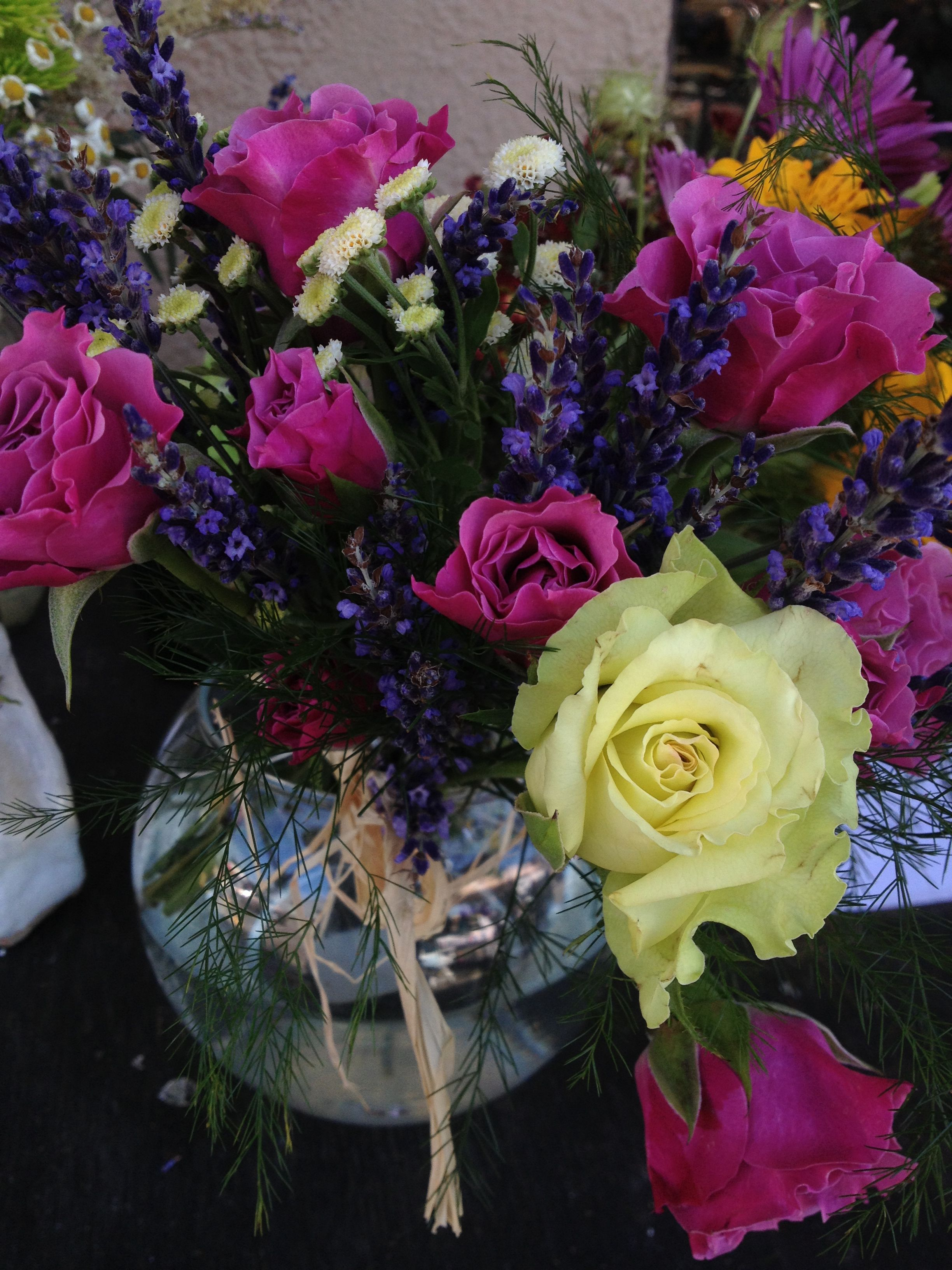 Garden roses, lavender and chamomile =beautifully fragrant