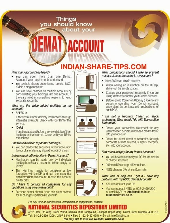 NSDL Do's & Don'ts for Demat Account Online stock