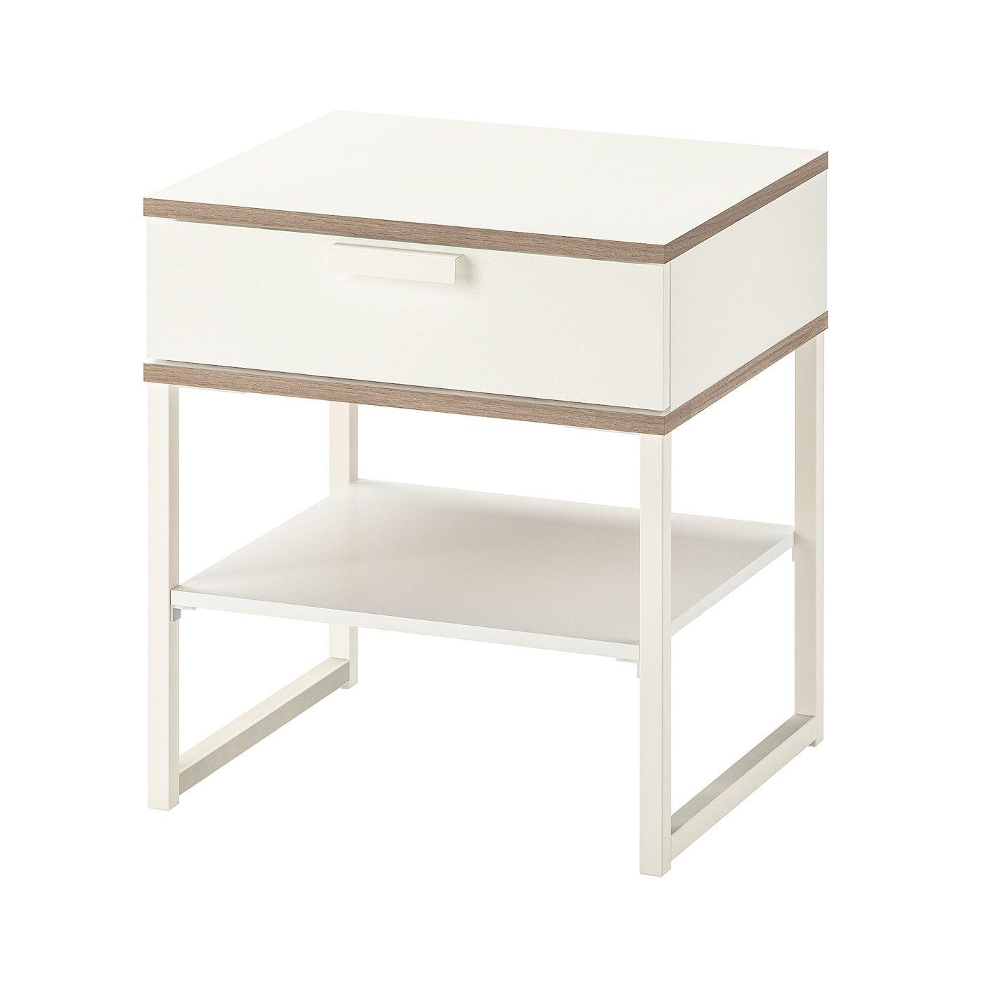 Trysil Table Chevet Blanc Gris Clair 45x40 Cm Mit Bildern