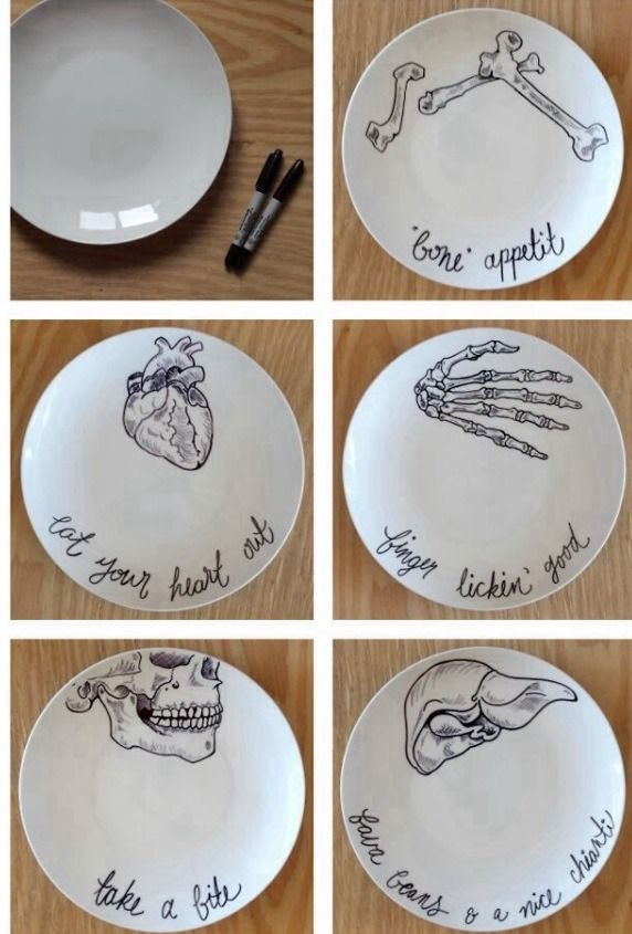 sharpie+dishes | draw desired design with a black sharpie bake at 350 for 30