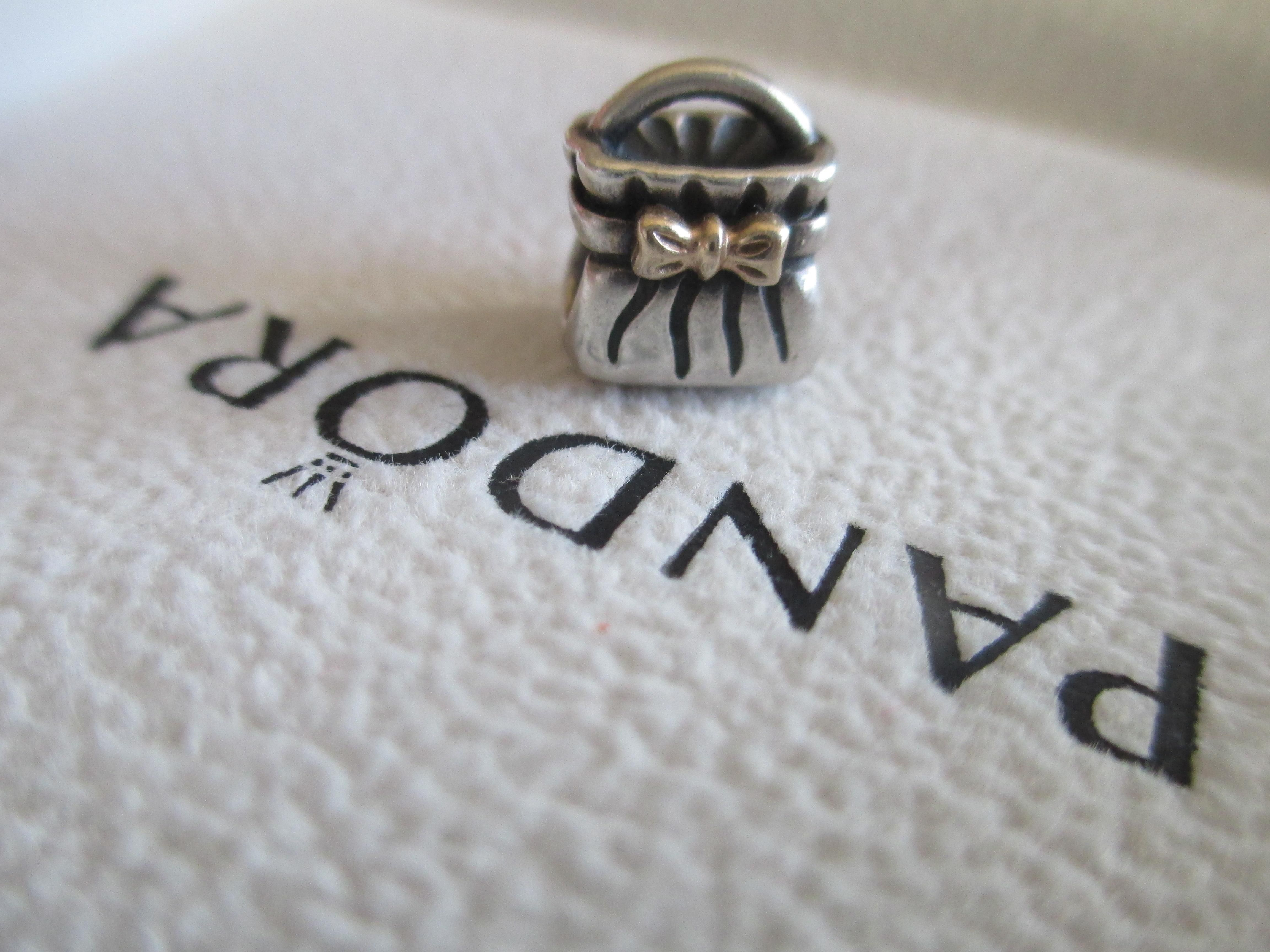 264caa549 Pandora Bead Charm - 790474 Bow Purse Sterling Silver 14k Gold Retired.  Free shipping and