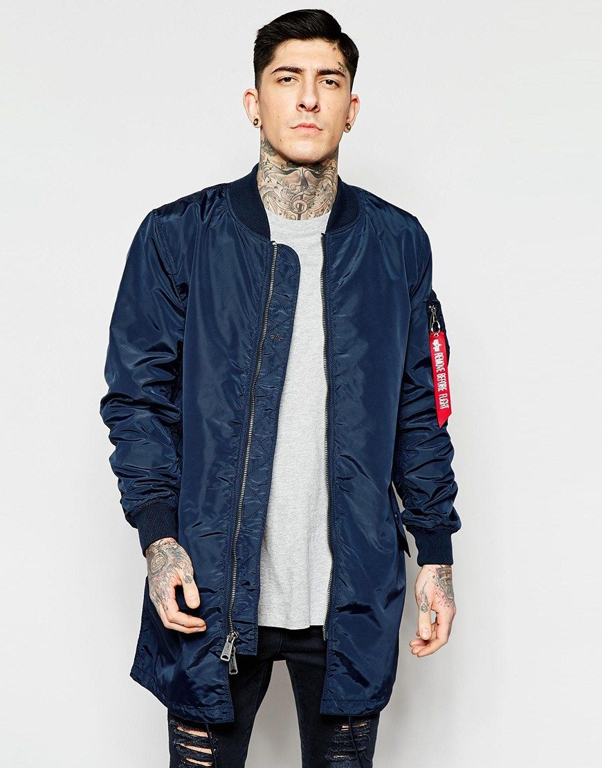 Alpha Industries MA1 Long Bomber Jacket Slim Fit in Navy | Gear ...