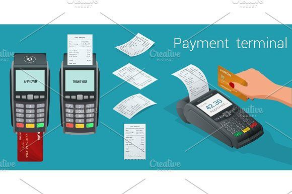 Vector Payment Machine And Credit Card Pos Terminal Confirms The Payment By Debit Credit Card Invoce Vector Illustration In Flat Design Nfc Payments Concept Credit Card Machine Credit Card Website Credit