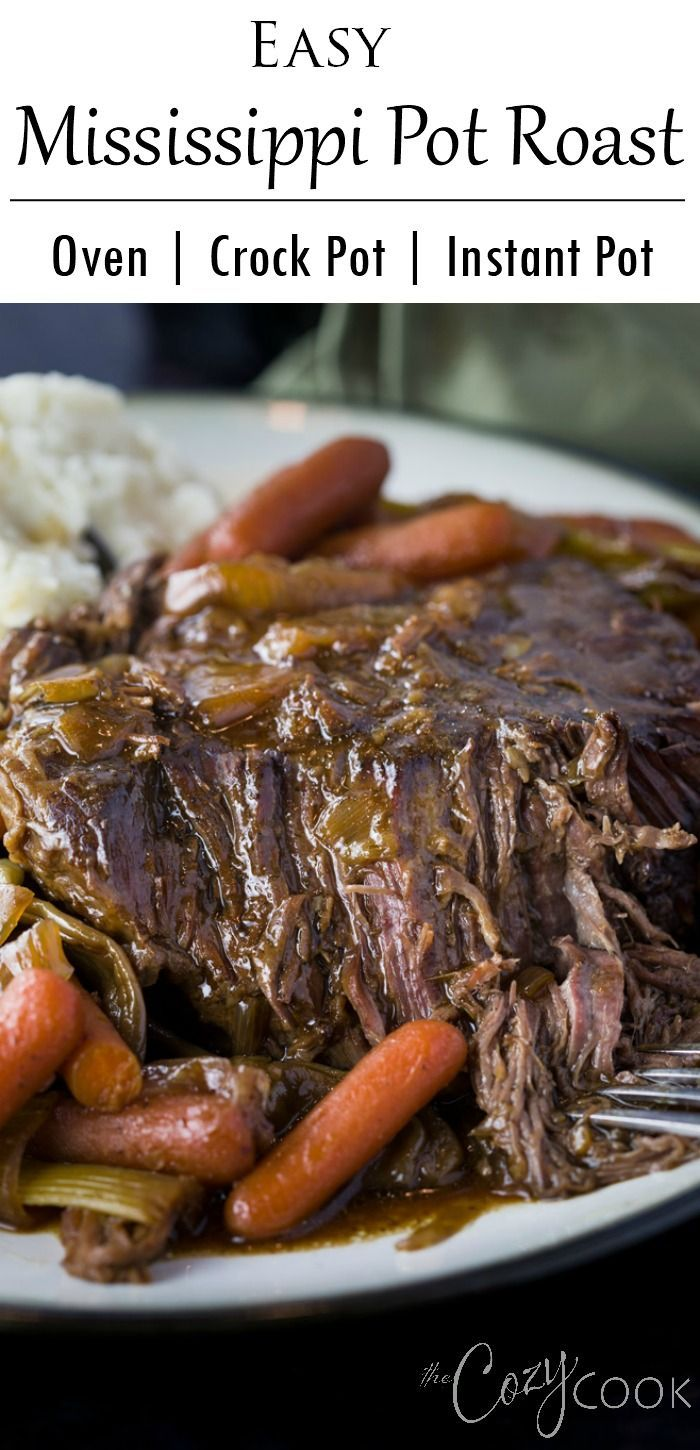 This easy Mississippi Pot Roast Recipe will quickly become your favorite meal for the Crock Pot, Instant Pot, or the Oven! You only need 4 ingredients and you can make an easy brown gravy at the end! #instapot #slowcooker #recipe #easy #dinner #dinnerideas #comfortfood #beefdishes
