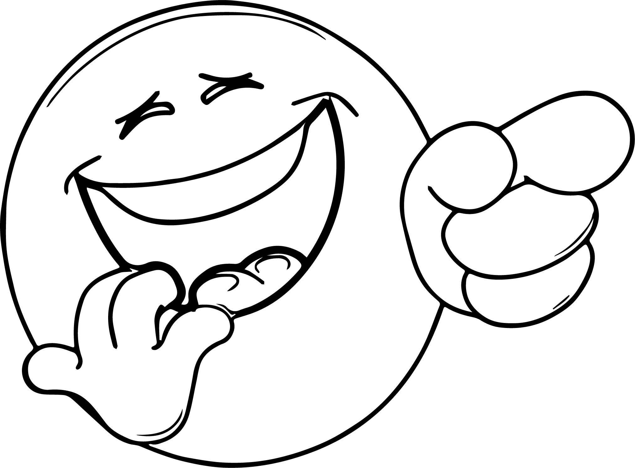 Cool Very Laugh Face Emoticon Coloring Page