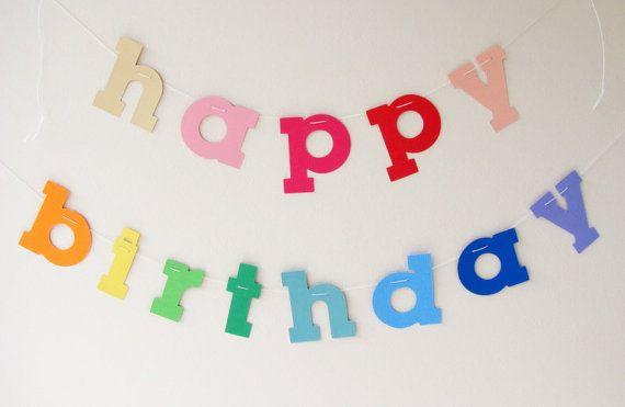 Happy Birthday Printable ~ Happy birthday garland in rainbow rainbow brite party