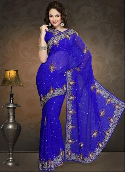 1cd59781bc Royal Blue Faux Georgette Border Work Saree in 2019 | beautiful ...