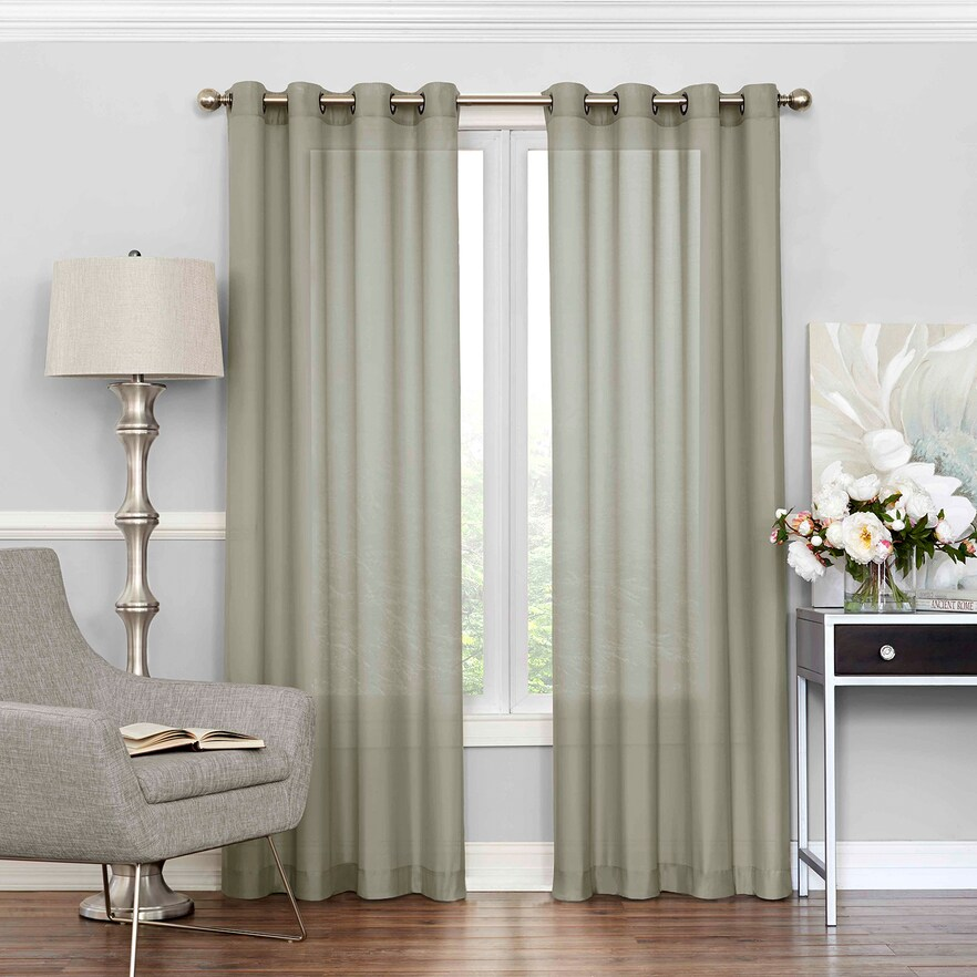 Eclipse Liberty Uv Light Filtering Sheer Window Curtain Green 52x95 Sheer Curtain Panels Panel Curtains Curtains