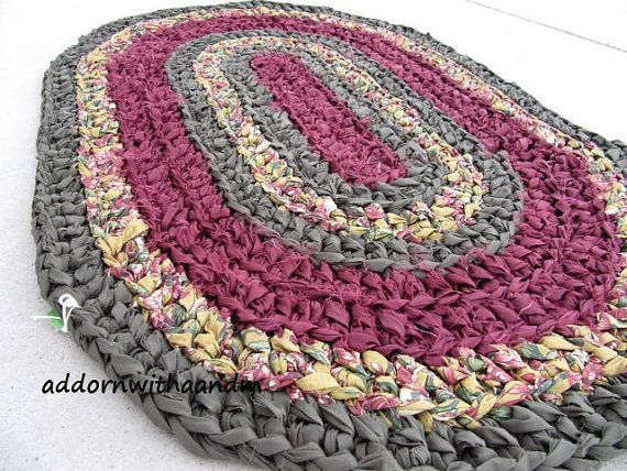 Royal Oval Crocheted Rag Rug Eco Friendly By Adornwithaandm Crochet Rag Rug Rag Rug Crochet Rug Patterns