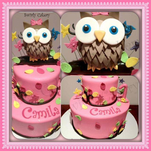 Camilas Owl 1st Birthday Cake Red Velvet Wcream Cheese Filling And