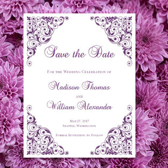printable save the date announcement isabella purple worddoc template w editable text instant d