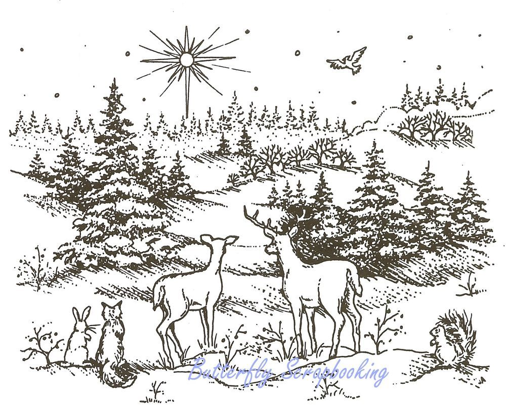 CHRISTMAS Blessed Night Scene Wood Mounted Rubber Stamp NORTHWOODS P847 NEW