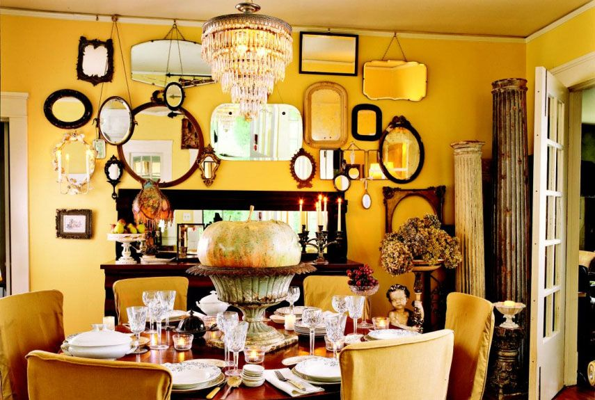 32 Cheerful Yellow Rooms That Will Brighten Your Home. Wall Of MirrorsDining  Room ...
