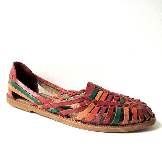 a6e0c1c11f5c Vintage 80s Huarache Red Leather Weave Flats . I had these as a kid! Total  blast from the past.