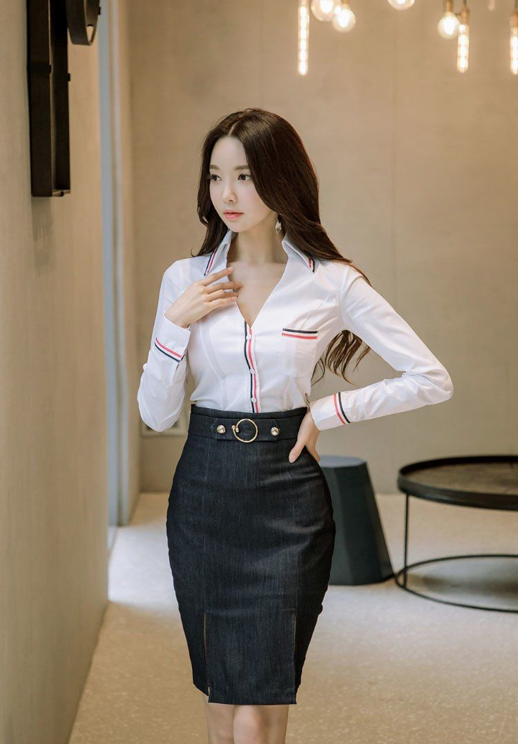 87037991a6 Ladies Tops And Blouses 2018 Sexy Stripe Trim Long Sleeve V Neck Shirt  White Office Blouse