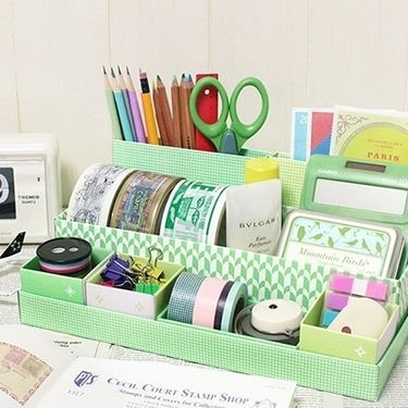Desk Organizer Made From Shoe Boxes And Shoe Box Lids Desk