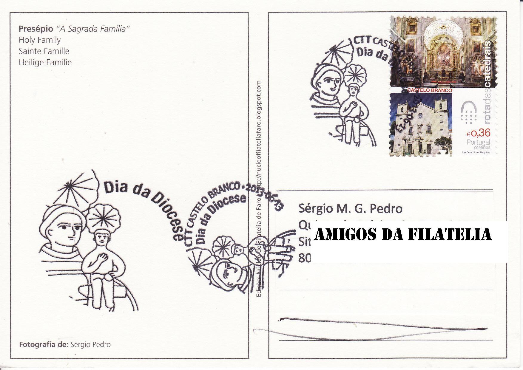 Selo 2.º grupo Rota das Catedrais (Catedral de Castelo Branco) com carimbo comemorativo de Castelo Branco alusivo ao dia da Diocése