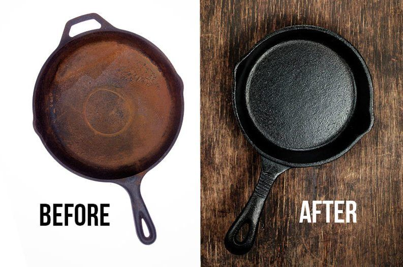 Easily Restore A Cast Iron Skillet With This Household Ingredient Cast Iron Seasoning Cast Iron Rusty Cast Iron Skillet
